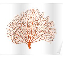 red sea fan coral silhouette Poster