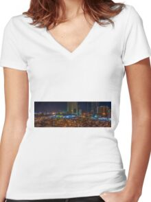CITY PANORAMA Women's Fitted V-Neck T-Shirt