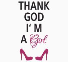 Thank God I am a girl Kids Tee