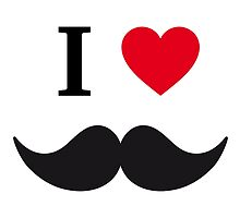 I love mustache with red heart by beakraus