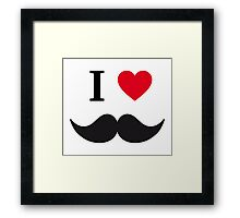 I love mustache with red heart Framed Print