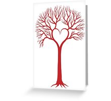 red love tree with heart branches Greeting Card