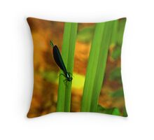dragonfly nature scene Throw Pillow