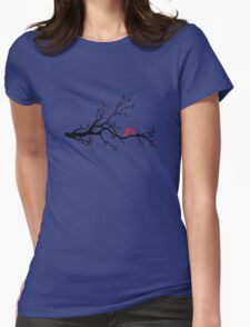 Kissing birds on love tree with red hearts Womens Fitted T-Shirt