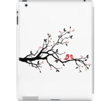 Kissing birds on love tree with red hearts iPad Case/Skin