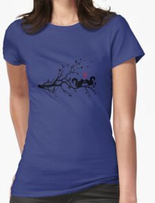 squirrels on tree branch with red hearts Womens Fitted T-Shirt