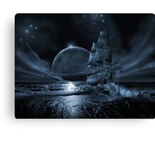 Ghost ship series: Full moon rising Canvas Print