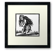 Medieval Green Woman Woodcut Framed Print