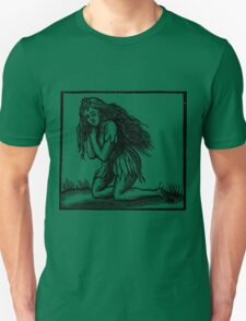 Medieval Green Woman Woodcut T-Shirt