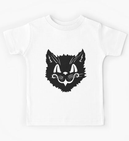Antique Halloween Black Kitty Cat Kids Tee