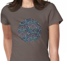 Colored Chalk Floral Doodle Pattern Womens Fitted T-Shirt