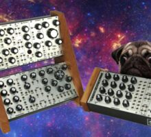 Pug on synthesizer in Space Sticker