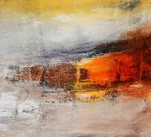 Abstract Orange Black Print from Original Painting  by AndradaArt