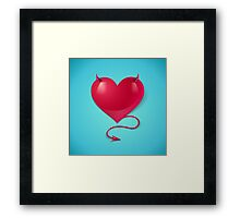 heart with tail and horns Framed Print