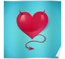 heart with tail and horns Poster