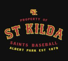 Property of St Kilda Baseball Club T-shirt Black/Grey/Charcoal/White by St Kilda Baseball Club