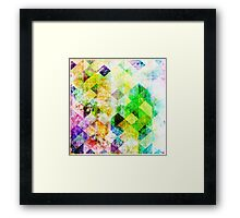 Green Geometric Grungy Diamond Pattern Framed Print