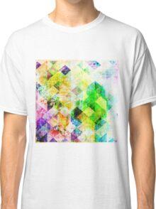 Green Geometric Grungy Diamond Pattern Classic T-Shirt