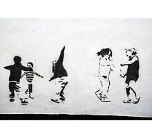 Children Playing: Stencil Art Photographic Print