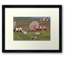 BEACH GOERS Framed Print