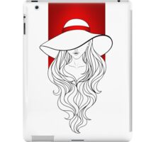 Young girl in a vintage hat on the red background iPad Case/Skin