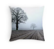 Old oak-trees in winter morning mist Throw Pillow