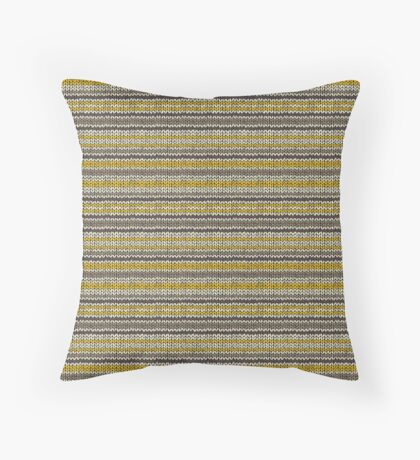 Knitted Pattern Set 11 - Stripes Yellow/Grey Throw Pillow