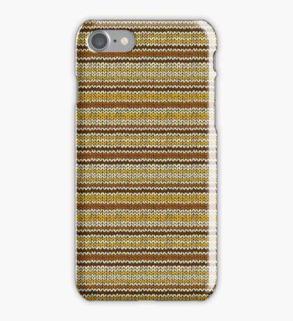 Knitted Pattern Set 12 - Stripes Yellow/Orange/Brown iPhone Case/Skin