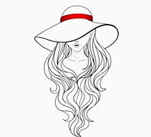 Girl with Long Hair and Hat  T-Shirt