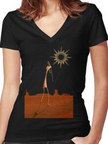 Kokopelli Comes Women's Fitted V-Neck T-Shirt