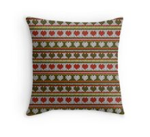 Knitted Pattern Set 15 - Hearts Green/Red Throw Pillow