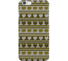Knitted Pattern Set 16 - Hearts Green iPhone Case/Skin