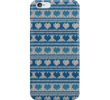 Knitted Pattern Set 18 - Blue Hearts iPhone Case/Skin