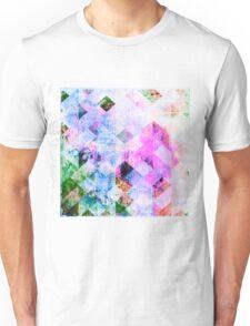 Pink & Blue Geometric Grungy Diamond Pattern Unisex T-Shirt