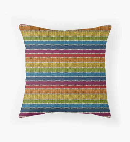 Knitted Pattern Set 19 - Rainbow 3 Throw Pillow