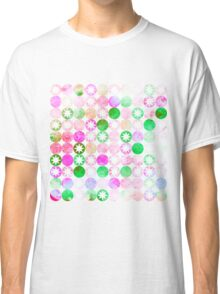 Grunge Pink & Green Dots with Star Bursts Classic T-Shirt