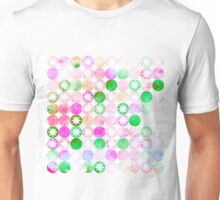 Grunge Pink & Green Dots with Star Bursts Unisex T-Shirt