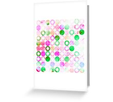 Grunge Pink & Green Dots with Star Bursts Greeting Card