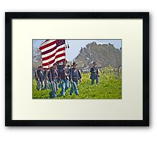 "Stylized photo of Civil War re-enactors marching on a ""battlefield"". Framed Print"