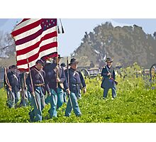 "Stylized photo of Civil War re-enactors marching on a ""battlefield"". Photographic Print"