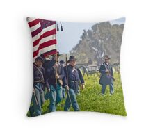 """Stylized photo of Civil War re-enactors marching on a """"battlefield"""". Throw Pillow"""