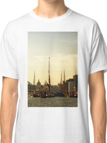 Boats on Thames River at Sunset, London, England Classic T-Shirt