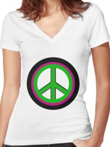 Triple Peace Women's Fitted V-Neck T-Shirt