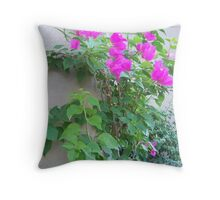 Pink Vine Flowers Throw Pillow