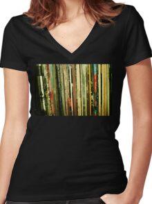 vinyl life Women's Fitted V-Neck T-Shirt