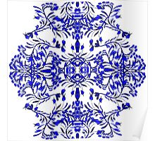 Blue flowers and swirls pattern Poster