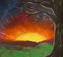 Sunset Glowing Beyond the Bare Tree Landscape Painting by Adri Turner
