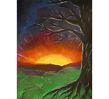 Sunset Glowing Beyond the Bare Tree Landscape Painting Photographic Print