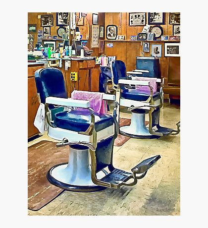 Two Barber Chairs With Pink Striped Barber Capes Photographic Print