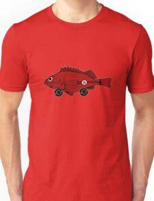 Racing fish - red on black Unisex T-Shirt